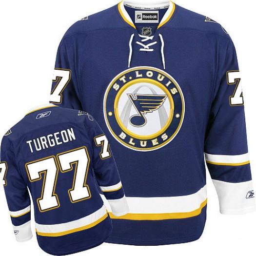 Pierre Turgeon St. Louis Blues Men's Reebok Authentic Navy Blue Third Jersey