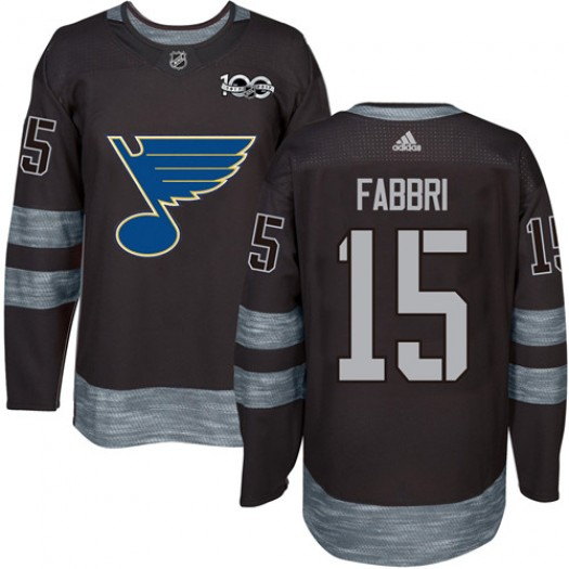 Robby Fabbri St. Louis Blues Men's Adidas Authentic Black 1917-2017 100th Anniversary Jersey