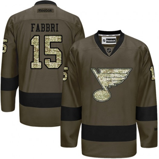 Robby Fabbri St. Louis Blues Men's Reebok Authentic Green Salute to Service Jersey