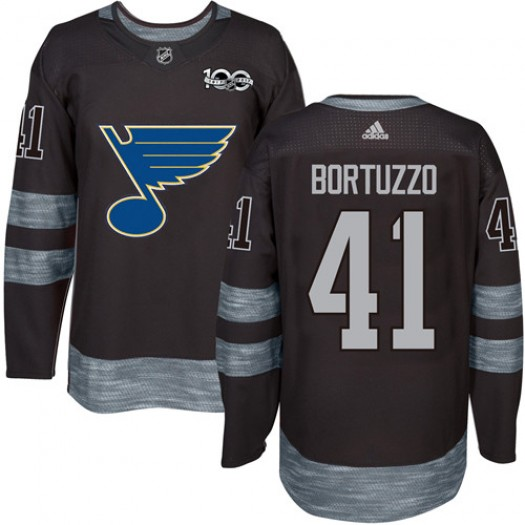 Robert Bortuzzo St. Louis Blues Men's Adidas Premier Black 1917-2017 100th Anniversary Jersey