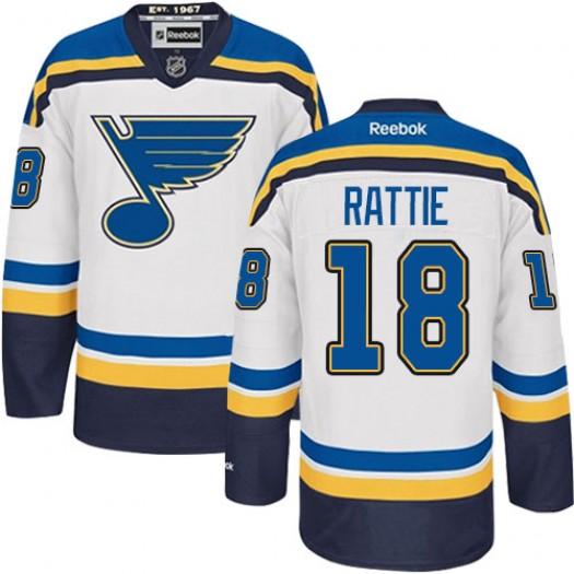 Ty Rattie St. Louis Blues Men's Reebok Authentic White Away Jersey