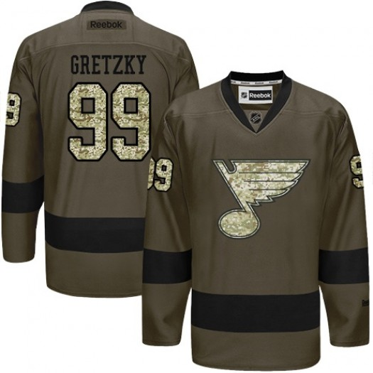 Wayne Gretzky St. Louis Blues Men's Reebok Premier Green Salute to Service Jersey