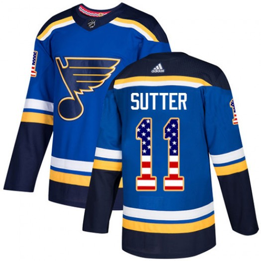 Brian Sutter St. Louis Blues Men's Adidas Authentic Blue USA Flag Fashion Jersey