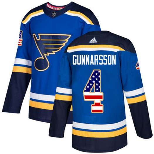 Carl Gunnarsson St. Louis Blues Men's Adidas Authentic Blue USA Flag Fashion Jersey