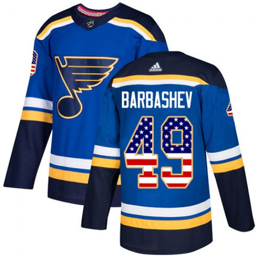 Ivan Barbashev St. Louis Blues Men's Adidas Authentic Blue USA Flag Fashion Jersey