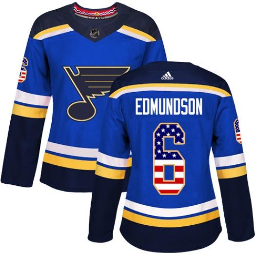 Joel Edmundson St. Louis Blues Women's Adidas Authentic Blue USA Flag Fashion Jersey