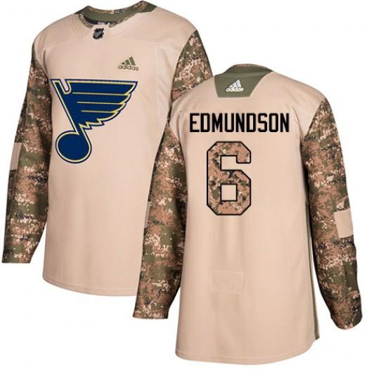 Joel Edmundson St. Louis Blues Men's Adidas Authentic Camo Veterans Day Practice Jersey