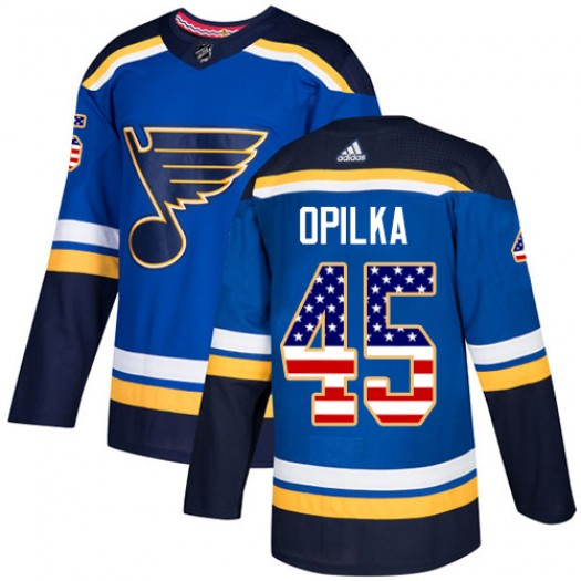 Luke Opilka St. Louis Blues Youth Adidas Authentic Blue USA Flag Fashion Jersey