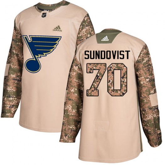 Oskar Sundqvist St. Louis Blues Youth Adidas Authentic Camo Veterans Day Practice Jersey