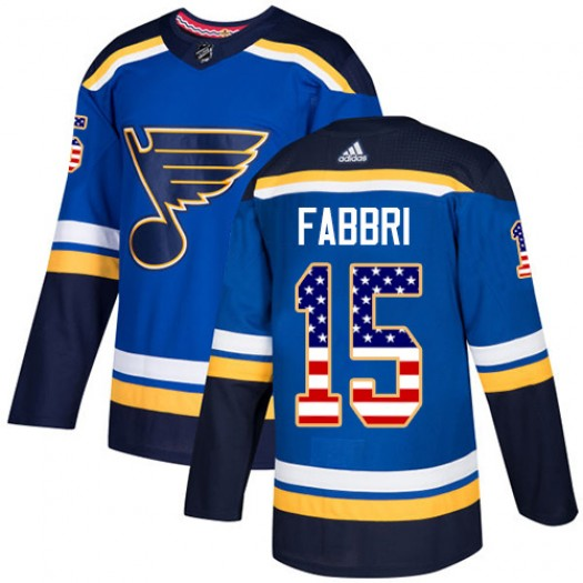 Robby Fabbri St. Louis Blues Youth Adidas Authentic Blue USA Flag Fashion Jersey