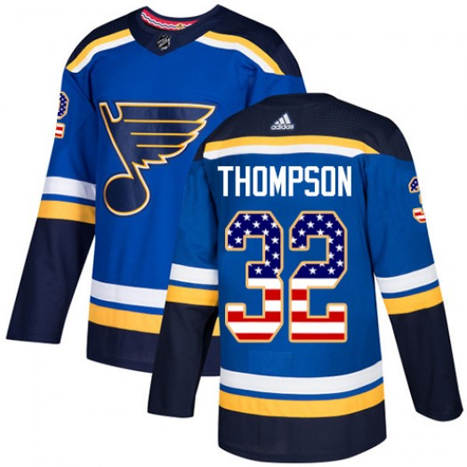 Tage Thompson St. Louis Blues Youth Adidas Authentic Blue USA Flag Fashion Jersey