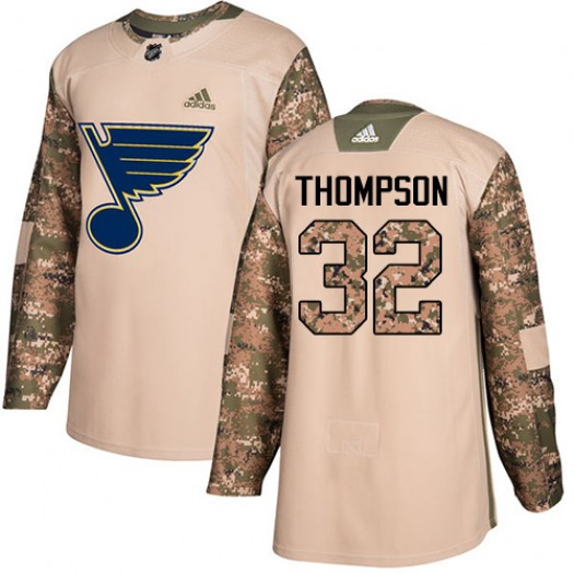 Tage Thompson St. Louis Blues Men's Adidas Authentic Camo Veterans Day Practice Jersey